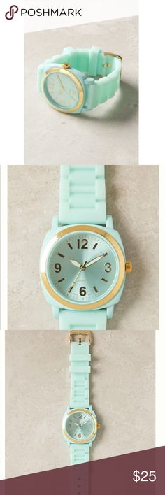 """Anthropologie Viscid mint green jelly Watch A bright gummy strap is lent sophistication from serious gold hardware.  NOT RUNNING! Needs battery!  Rubber, metal, glass  9""""L, 1.5""""W  Imported  Style No. 24795999 Anthropologie Accessories Watches"""