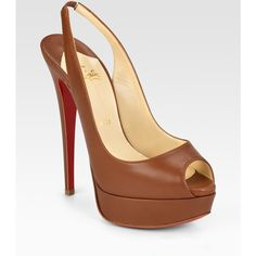 Christian Louboutin Lady Peep-Toe Slingbacks ($895) ❤ liked on Polyvore featuring shoes, pumps, heels, christian louboutin, scarpe, women, slingback pumps, peep toe slingback pumps, red sole shoes and high heel slingbacks