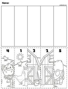 Farm Scene Number Sequence Puzzles by preKautism Math Activities For Kids, Autism Activities, Kindergarten Worksheets, Numbers Kindergarten, Numbers Preschool, Number Sequence, Farm Unit, Math Task Cards, Farm Theme