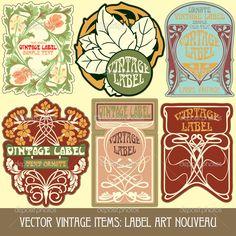 Label art nouveau — Стоковая иллюстрация #33067271