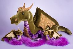 Douglas Fantasy Collection Olive plush dragon stuffed animal in a choice of sizes Needle Felted Animals, Felt Animals, Needle Felting, Cute Stuffed Animals, Dinosaur Stuffed Animal, Felt Dragon, Dragon Pattern, Toys Shop, Sewing Projects