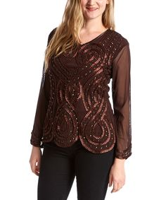 Loving this Coffee Bejeweled Linen-Wool Blend Top - Women on #zulily! #zulilyfinds