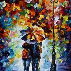 Under One Umbrella 2- Oil painting on Canvas By Leonid Afremov