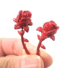 Rose Flower Shaped Fake Gauge Plug Stud Earrings in Red