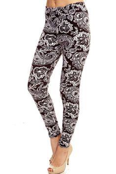Elegant4U Junior's Printed Floral Damask Pattern Fashion Leggings