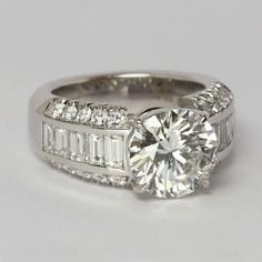 A Perfect 3.3CT Round Cut Brilliant Russian Lab Diamond Baguette Accents Ring - Joy of London Jewels #gorgeousrings