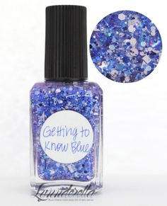 Lynnderella Limited Edition—Getting to Know Blue contains assorted blues of the blue-violet persuasion, powder blue dots as well as black and white glitters all in an intensely blue-shimmered clear base.