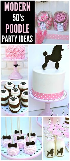Check out this pink poodle party with a modern 50's style! See more party ideas at CatchMyParty.com!