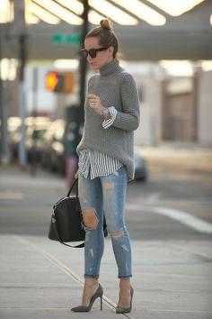 21 Maneras de Vestir con Jeans y Tacones Altos o Botines - Muy buenas Ideas - Moda