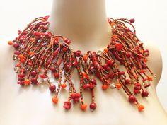 Rojo brillante declaración Funky collar de Coral por OlenaRjewelry, $200.00