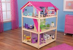 Designed with the modern youngster in mind, the So Chic Dollhouse includes: - Three levels and ten rooms - 50 colorful pieces of furniture - Rolls on casters - Made of composite wood materials, solid