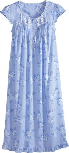 Eileen West All-Cotton Nightgown with Hydrangea Print Night Wear Dress, Kids Dress Wear, Night Dress For Women, Cotton Nighties, Cotton Dresses, Nightgown Pattern, Pakistani Fashion Casual, Kurta Neck Design, House Dress