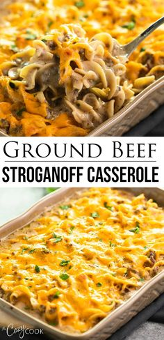 This beef stroganoff casserole recipe is an easy make-ahead dinner that gives you the convenience of using ground beef It s 100 homemade with no canned soup just simple ingredients including beef broth sour cream and savory cheese Beef Recipes For Dinner, Yummy Recipes, Meat Recipes, Recipes For Ground Beef, Crockpot Recipe With Ground Beef, Recipes For Casseroles, Easy Ground Beef Meals, Recipes Using Beef Broth, Ground Chuck Recipes Dinners