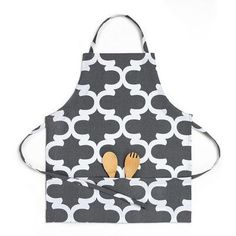 Linen Tablecloth Trellis Bib Apron Color: Charcoal/White