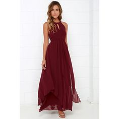 Dream Girl Wine Red Maxi Dress ($88) ❤ liked on Polyvore featuring dresses, red, sleeveless maxi dress, halter top, red chiffon dress, empire waist maxi dress and chiffon maxi skirt