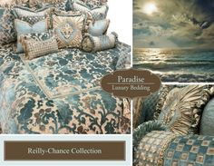Paradise Luxury Bedding Collection - soft aqua blue and taupe chenille, velvet, silk, beading and Swarovski Crystal jeweled medallion by Reilly-Chance Collection Aqua Bedding, Matching Bedding And Curtains, Duvet Bedding Sets, Luxury Bedding Sets, Dorm Bedding, French Inspired Bedroom, Dinosaur Toddler Bedding, Velvet Duvet, Big Pillows