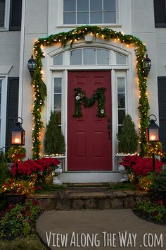 Decorate your front door with fresh greenery and this DIY monogram wreath! @Kelly at View Along the Way