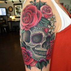 Beautiful Sugar Skull Tattoo by Nikki Costalupes