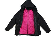 GERRY 3 IN 1 SYSTEMS WOMENS JACKET WITH DETACHABLE HOOD XLarge BlackPink *** Find out more about the great product at the image link. (This is an affiliate link)
