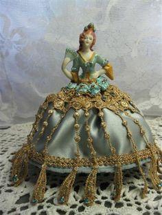 New porcelain half doll pincushion doll artist doll by KaysStudio, $65.00