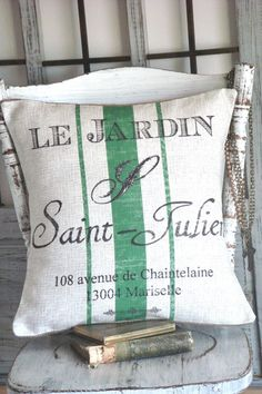 Cotton and Burlap Pillow Cover Green Garden French Grainsack Pillow