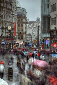 Leicester Square on a rainy day