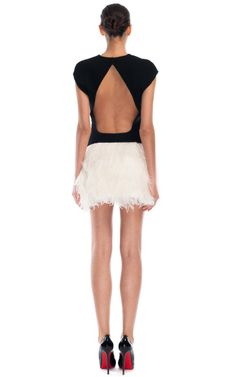 Ostrich Feather Dress by Jay Ahr for Preorder on Moda Operandi