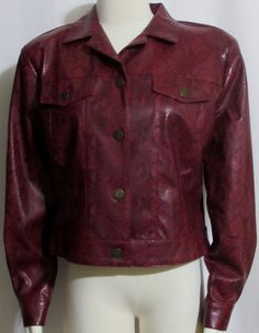Womens Ladies NANCY BOLEN Red & Black Faux Reptile Leather Jeans Style Jacket 6 #NancyBolen #FauxLeatherJacket #Casual