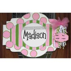 Personalized Pink and Green Baby Sign For Hospital Door on Etsy, $35.00