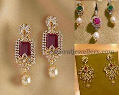 Jewellery Designs: Diamond Earrings from Mehta Jewelry Gold Earrings Designs, Necklace Designs, Diamond Studs, Diamond Jewelry, Diamond Jhumkas, Gold Jewelry, Vintage Jewelry, Antique Jewelry, Beaded Jewelry