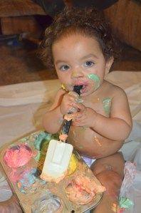 Pinscore.wordpress.com Whipped Cream Paint Infant Sensory Activity
