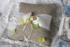 Shabby Chic  Wedding ring pillow  satin ribbon by RusticBeachChic, $28.00