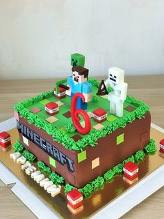 Birthday cake (Minecraft) - Everything For The Party Minecraft Torte, Minecraft Pasta, Pastel Minecraft, Lego Minecraft, Minecraft Houses, Minecraft Bedroom, Minecraft Creations, Minecraft Crafts, Minecraft Memes