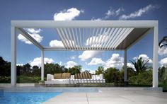 Wall-Mounted pergola / self-supporting / aluminum / with sliding canopy - orchestra - dirello s.l - videos Pergola Canopy, Pergola Patio, Pergola Plans, Backyard, Pergola Designs, Pool Designs, Outdoor Rooms, Outdoor Living, Outdoor Decor