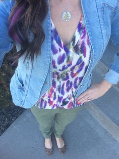 Wearing the Cabi Plume top with our traveler pant and Jeanie jacket from last spring season