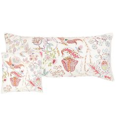 A vintage Italian fabric served as the inspiration for this stunning printed cotton pillow in shades of pink, red, blue, and green, with delicate embroidery. Featherdown insert included.