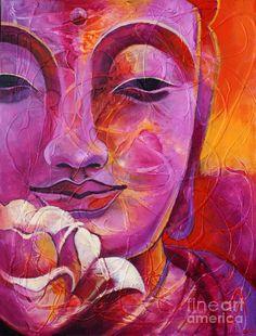 Buddha With Lotus Flower Canvas Print / Canvas Art by Paulina Garoa