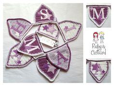 Crochet bunting for a little girl's bedroom/nursery in shades of purple decorated with hand embroidered felt stars