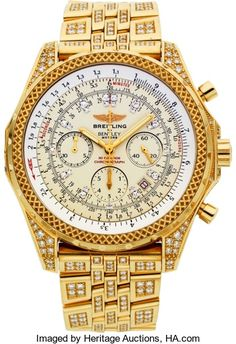 Breitling Extremely Rare Limited Edition Gold &Diamond 30 Seconds Chronograph For Bentley Motors No. 1 of 5 Produced. ...