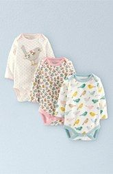 Mini Boden Cotton Bodysuits (3-Pack) (Baby)
