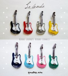 ROCKなギターのブローチ ●素材: プラバン、ブローチピン、UVレジン、ビーズ、スパンコールなど