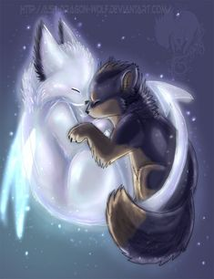 Are you my guardian angel - Anime Wolf Cute Animal Drawings, Kawaii Drawings, Cute Drawings, Mythical Creatures Art, Fantasy Creatures, Fox Art, Anime Animals, Animal Wallpaper, Black Wallpaper
