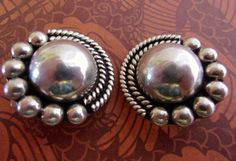 Sterling Silver Domed Earrings Mexican Round by RenaissanceFair