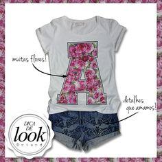 Inspiração de look para entrar no clima do final de semana: t-shirt com muitas flores e shorts jeans com detalhes que amamos ♥  http://facebook.com/VistaBriard  #Moda #Fashion #Outfit #Ootd #Tip #Briard