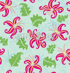 Pink Lily by Yenty Jap available for download as a vector file on patterndesigns.com Light Blue Background, Summer Feeling, Pink Lily, Vector Pattern, Vector File, Surface Design, Hawaiian, Bloom, Pure Products