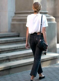 Black high waisted jeans and white tee Street style, street fashion, best street style, OOTD, OOTD Inspo, street style stalking, outfit ideas, what to wear now, Fashion Bloggers, Style, Seasonal Style, Outfit Inspiration, Trends, Looks, Outfits.