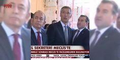 NATO Genel Sekreteri hayretle inceledi: NATO Genel Sekreteri Jens Stoltenberg 15 Temmuz darbe girişimi gecesi bombalanan meclise ziyarette bulunuyor