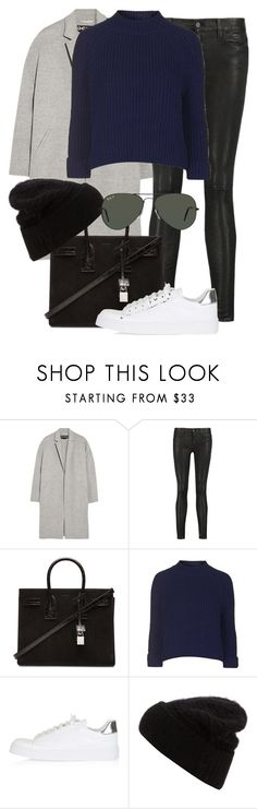 """""""Untitled #2265"""" by rosyfilm ❤ liked on Polyvore featuring Rochas, 7 For All Mankind, Yves Saint Laurent, Topshop, Acne Studios and Ray-Ban"""