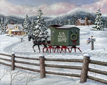 Old-fashioned Christmas art by noted Canadian painter Richard De Wolfe