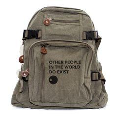 Backpacks, Other People, Canvas Backpack, Rucksack, Travel Backpack, Bag, Small Backpack, Men Backpack, Women's Backpack by mediumcontrol on Etsy https://www.etsy.com/listing/79569476/backpacks-other-people-canvas-backpack